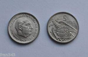 Moneda 5 pesetas franco 1957