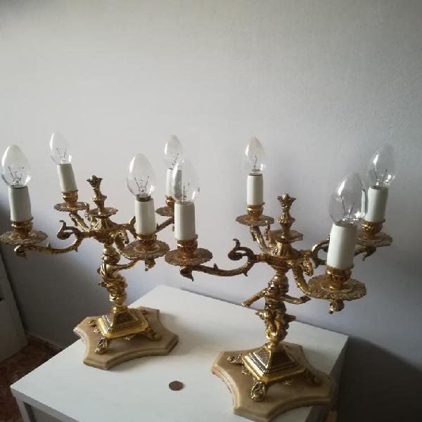 Lámparas candelabro bronce antiguas