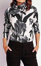 Camiseta cuello vuelto blanco y negro talla 40