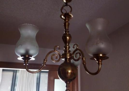Lámpara bronce y latón 3 brazos