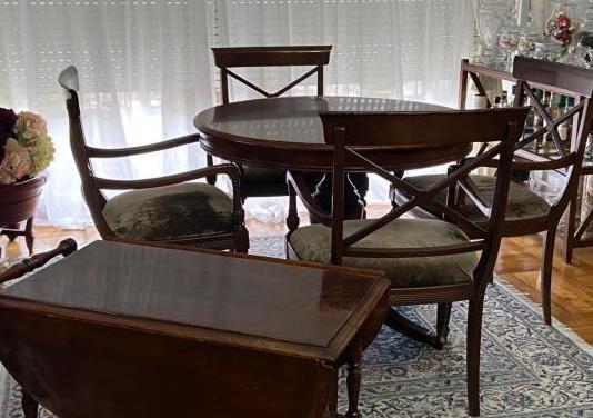 Mesa comedor, sillas y mesa aux carro