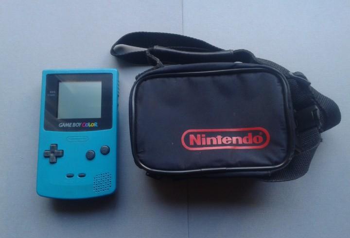 Nintendo game boy color cgb-001 azul turquesa+funda original