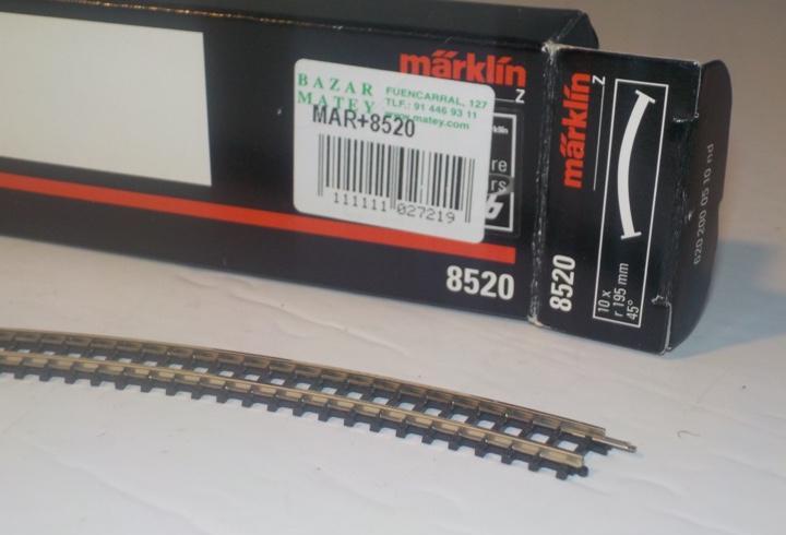 Tramo de vía escala z marklin 8520.curva 195mm 45º