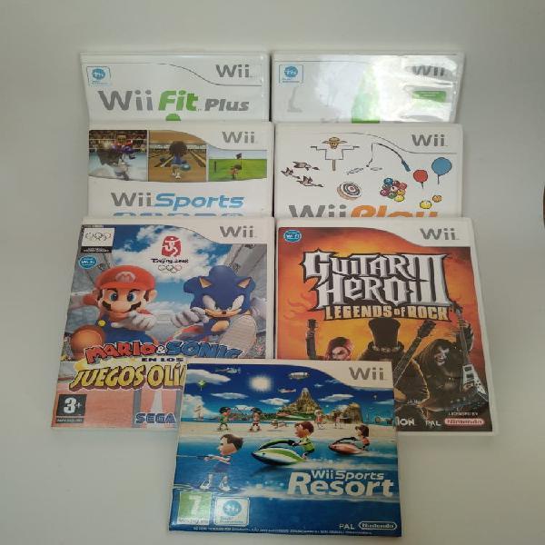 7 juegos wii con caja e instrucciones originales