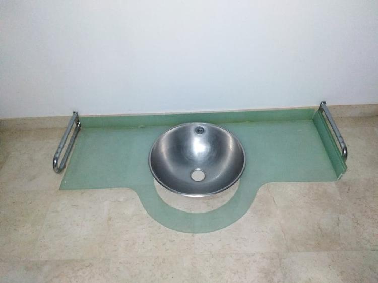 Encimera cristal en suspensión + lavabo acero inox