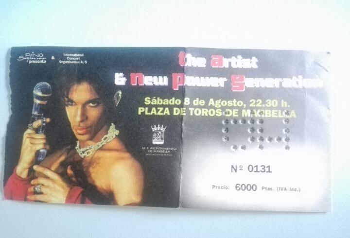 Entrada concierto prince - 8 agosto 1998 - plaza de toros de
