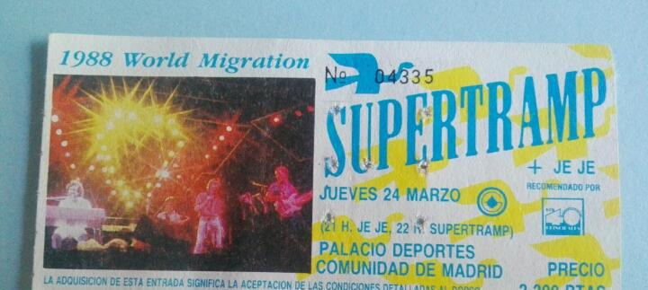Entrada concierto supertramp world migration - 24 marzo 1988