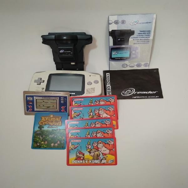 Nintendo e-reader + gameboy advance + cartas
