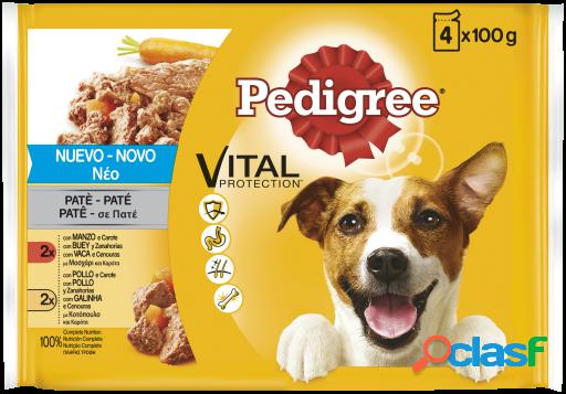 Pedigree pack 4 pouches pate ternera y aves 100 gr