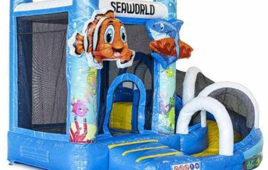 Castillo hinchable mini con tobogán mundo mari...