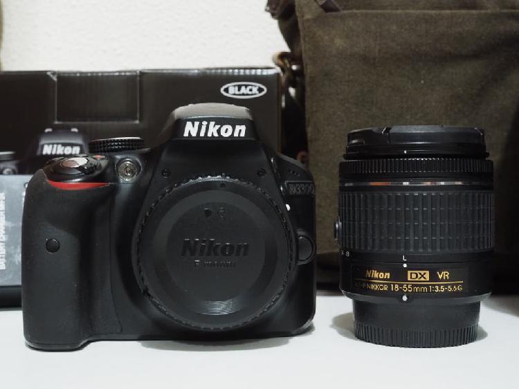 Cámara nikon d3300 + nikkor 18-55mm + bolsa cámara