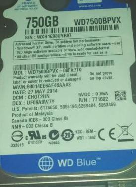 Disco duro de 750gb sata iii de portatil