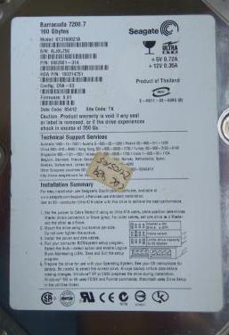 Disco duro seagate st3160021a 160gb.