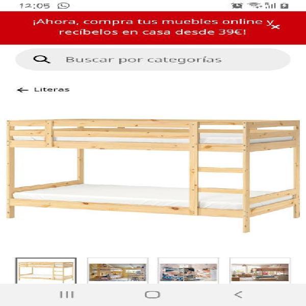 Litera de madera 90x200