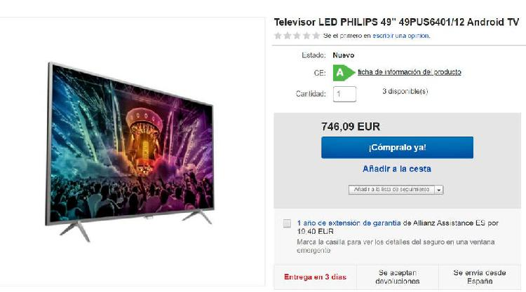 """Televisor led philips 49"""" android tv"""