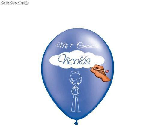12 globos comunión personalizable niño