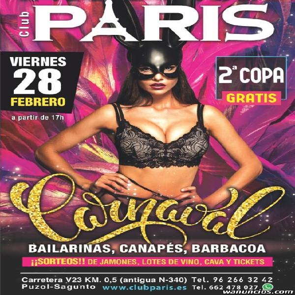GRAN FIESTA DE CARNAVAL EN STRIP CLUB SHOWGIRLS PARIS
