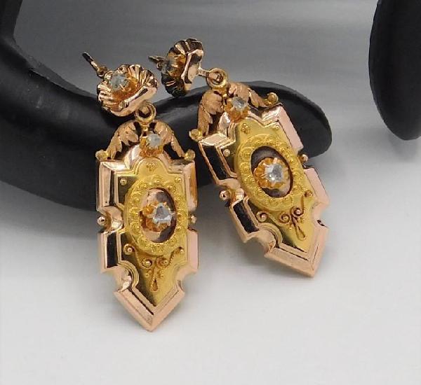 Magnificos pendientes isabelinos finales siglo xix oro