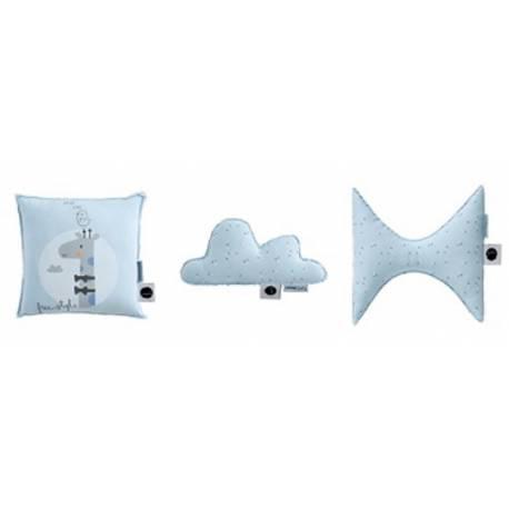 Set 3 cojines formas jirafa bl/azul de pirulos