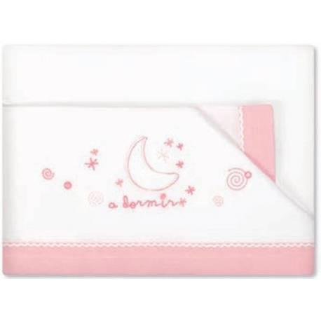 Triptico sábanas minicuna a dormir blanco/rosa de pirulos