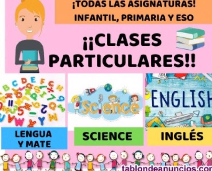 Clases particulares infantil, primaria, secundaria