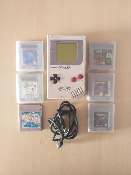 Game boy clásica + 6 juegos y cable link