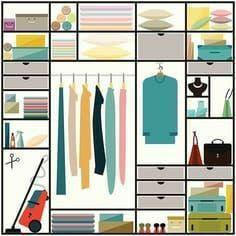 Limpieza, plancha y organización de armarios.