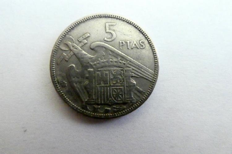 Moneda de cinco pesetas año 1957