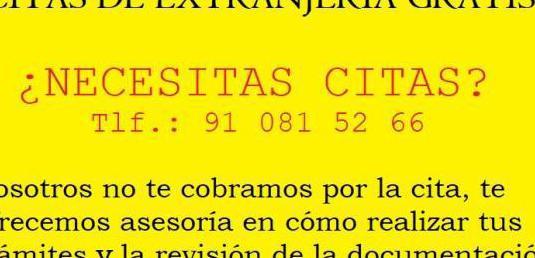 Citas de extranjeria gratis 91 081 52 66