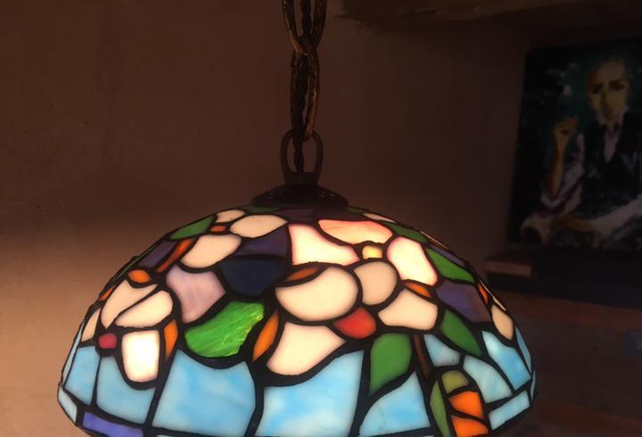 Lámpara techo tiffany emplomado art deco