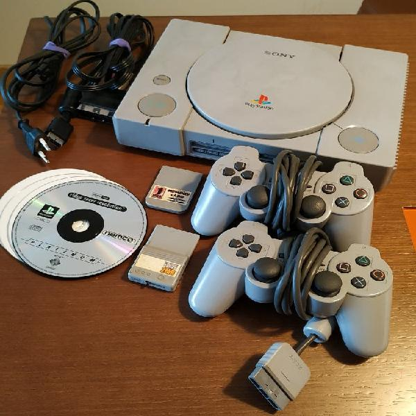 Consola playstation psx+2 mandos+2 memory+4 juegos