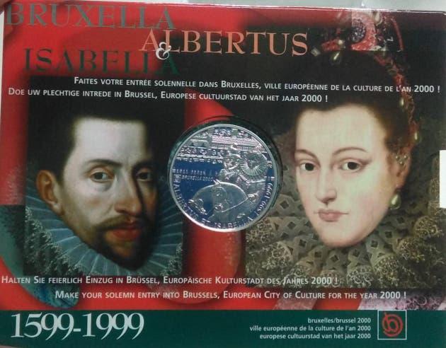 Moneda plata 500 francos bélgica 1999