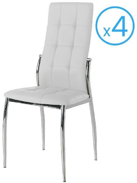 Pack 4 sillas comedor salon blancas laci polipiel