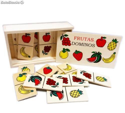 Dominó madera frutas