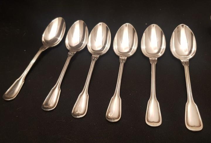 12 cucharas de postre / merienda baño de plata con sello y