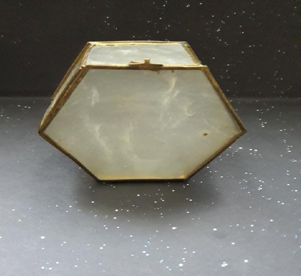 Caja joyero antiguo de forma hexagonal s. xix