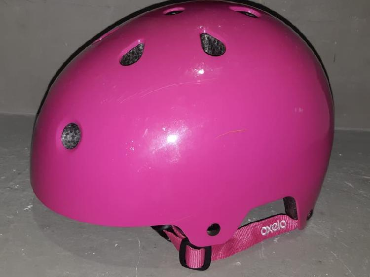 Casco oxelo rosa talla m (55 58 cm) , 6 a 10 años.