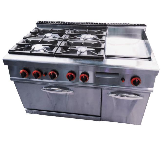Cocina industrial 4 fuegos con plancha fry top