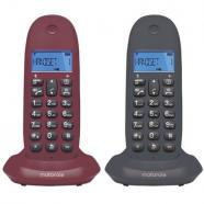 Motorola c1002 lb+ telefono dect duo gris-granate, original