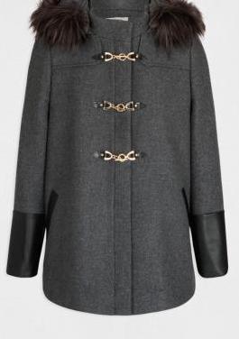 Abrigo mujer gris con capucha. morgan. t36