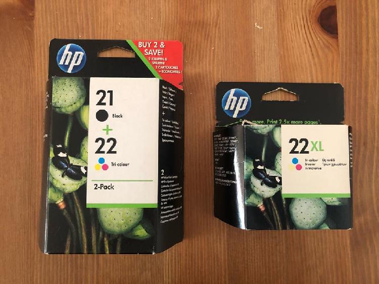 Cartuchos tinta hp 21 y 22