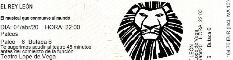 Dos entradas el rey leon