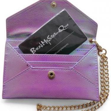 Monedero violeta con tarjeta de bloqueo rfid