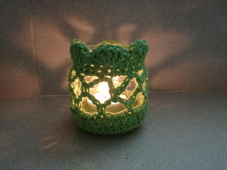 Novedad - portavelas crochet