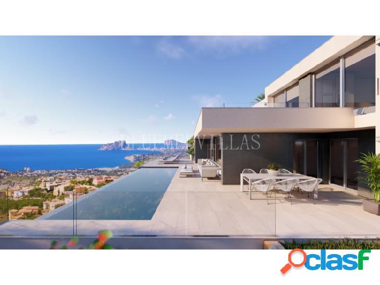 Proyecto de villa de estilo moderno con vistas al mar en venta en benitachell