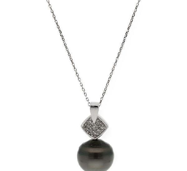 Collar y colgante con perla tahiti y diamantes en oro de ley