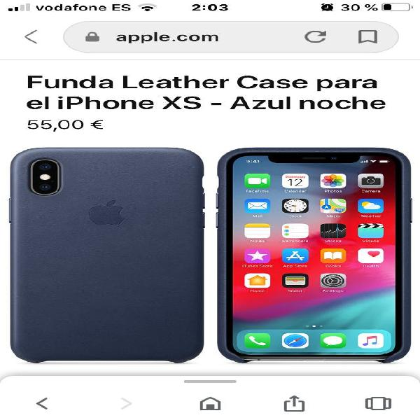 Funda cuero original azul iphone xs