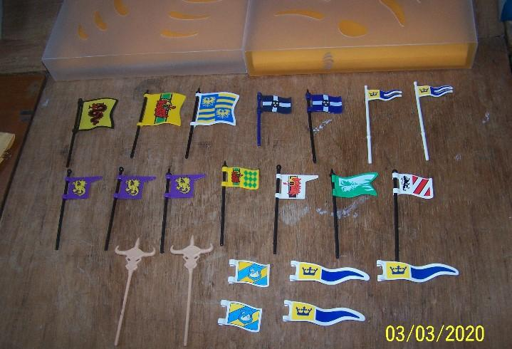 Lote playmobil medieval, estandarte, bandera, banderin. leer