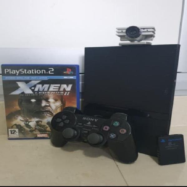 Ps2 slim + mando + memoria + cámara + juego