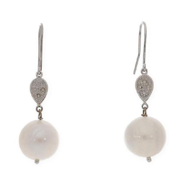 Pendientes oro blanco 18 k con perlas y diamantes